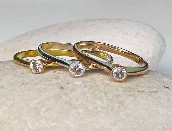 White Sapphire Promise Ring September Birthstone Ring by Belesas
