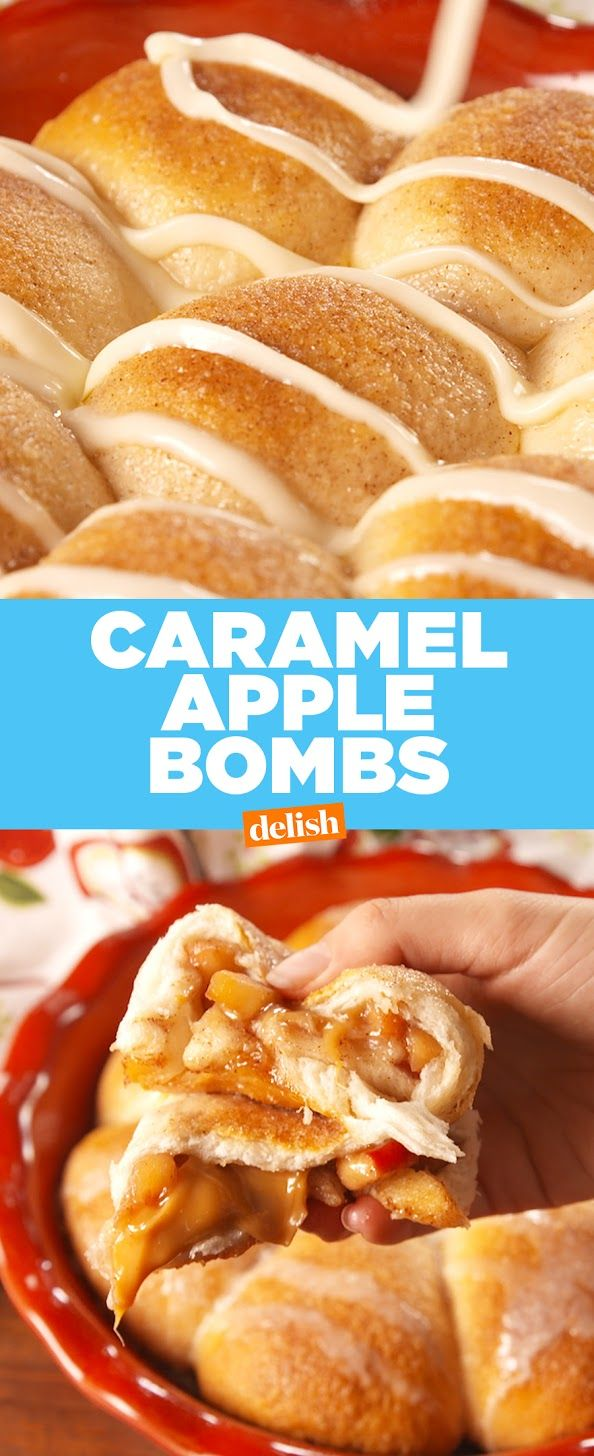 Caramel Apple Bombs are perfect for when you're missing fall. Get the recipe at Delish.com. #recipe #easyrecipes #caramel #apple #dessert #brownsugar #cinnamon #icing #biscuits #dough