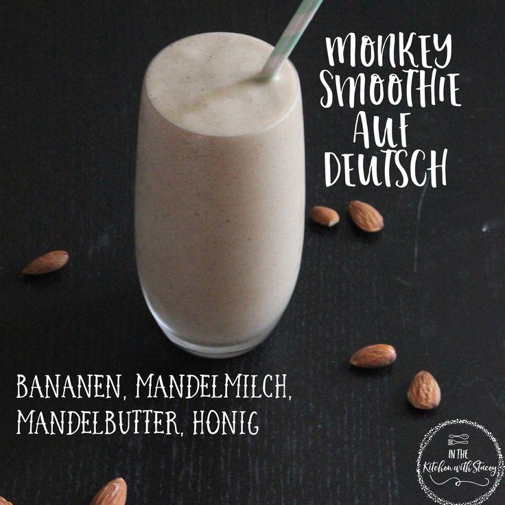 Monkey Smoothie auf Deutsch Rezept. Gefrorene Bananen gemischt mit Honig, Mandel-Butter und Mandelmilch. Ein schnelles und einfaches Frühstück oder snack
