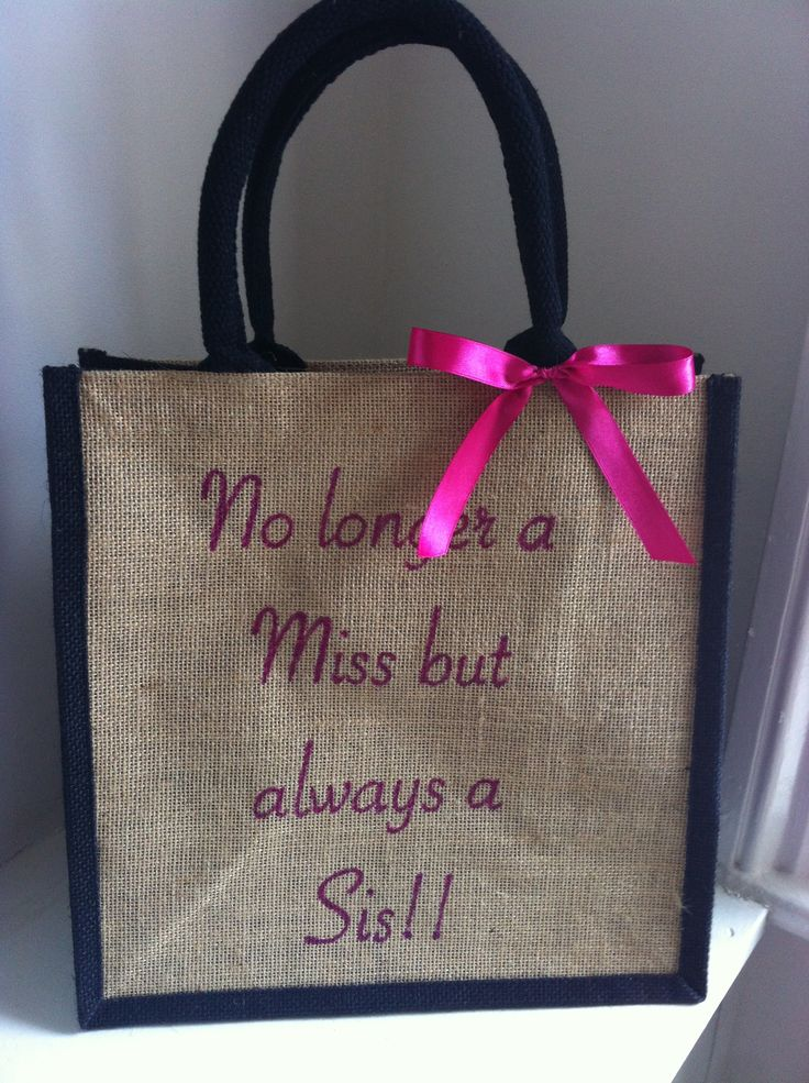 No Longer a Miss but always a Sis! Personalised Bridal Wedding Day Jute Tote Bag gift for sister on her engagement, hen night or wedding morning. Honeymoon beach bag available from www.HarlieLoves.co.uk