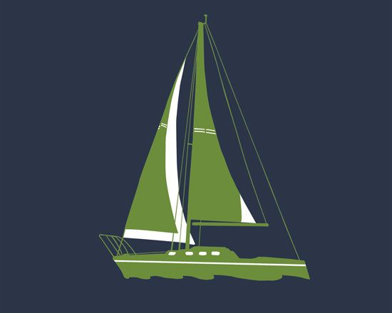 Sail boat art nautical nursery decor 13 x 19 print  by nevedobson, $44.00