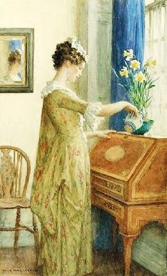 Daffodils, watercolor by William Henry Margetson (1861-1940)