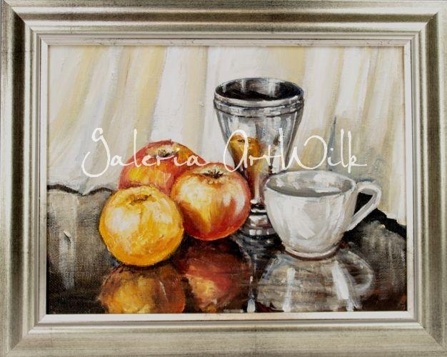 Obraz malowany techniką mieszaną farbami olejnymi na płótnie, owymiarach 18 x 24 cm. Obraz werniksowany, oprawiony wsrebrną ramę. Sygnowany podpisem