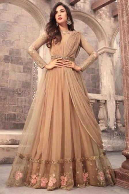 4461fea16d Beautiful Beige Color Net Fabric Indian Wedding Season Bollywood Style  Designer Embroidered Celebrity Fashion Floor Length Anarkali Suit Starring  Sonal ...