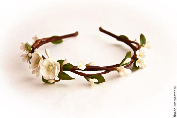 """Купить Ободок """"Пробуждение"""" - белый, ободок для волос, ободок с цветами, для невесты, украшение для волос"""