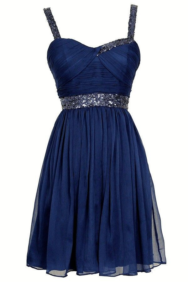 2015 A Line Navy Blue Homecoming Dresses With Beaded Straps Short Prom Dress Party Gown on Luulla