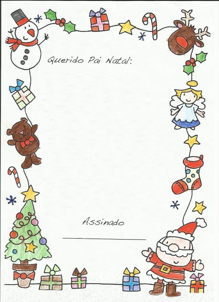 Folha de Carta Colorida Para o Pai Natal