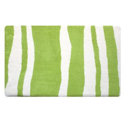 Fabbrica Home Wavy Memory Foam Bath Rug Color: Spring Green/White