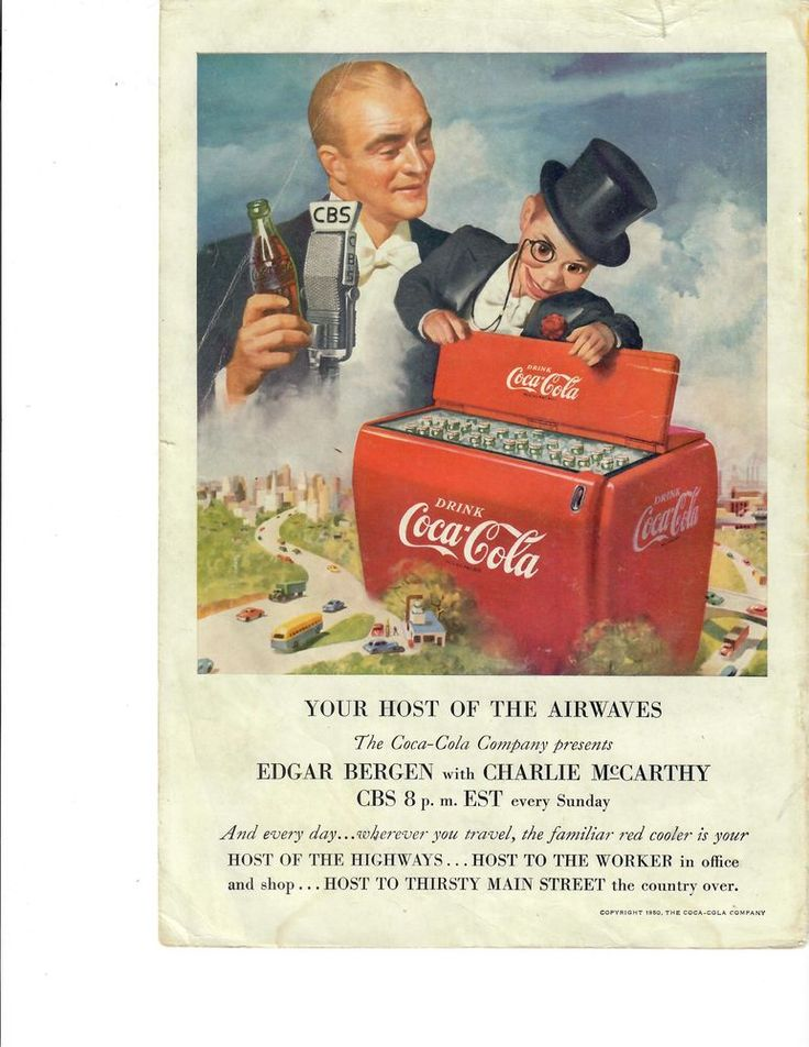 1950 Edgar Bergen & CHARLIE McCARTHY COCA COLA Advertising CBS Photo Ad. #CocaCola