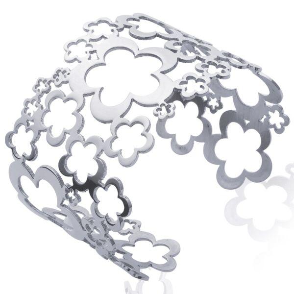 Bracelet manchette en acier avec motifs fleurs - Matière : Acier - Diamètre : 62 mm - Largeur : 3,5 cm - http://www.cemonstyle.com/contents/fr/p284_Bracelet-manchette-femme-acier-floral-fleurs-1501061-19031562.html