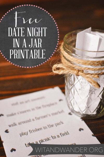 Get out of the dating rut with this Free Date Night in a Jar Printable from Wit & Wander!