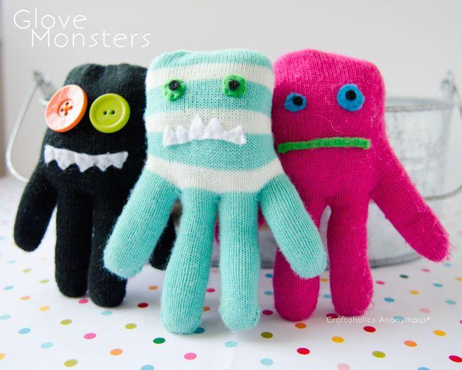 Glove monsters tutorial. Good idea for single gloves.