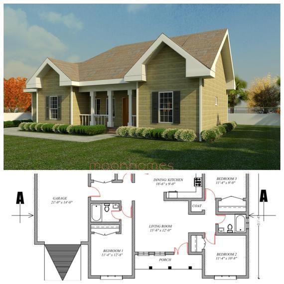 3 Bedroom House Floor Plan Architectural Design Drawings Etsy House Floor Plans Beautiful House Plans Luxury Floor Plans