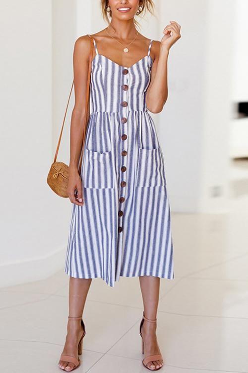 4a29ec7b4dc V Neck Button Decorative Stripe Midi Dress in 2019 | Dresses ...
