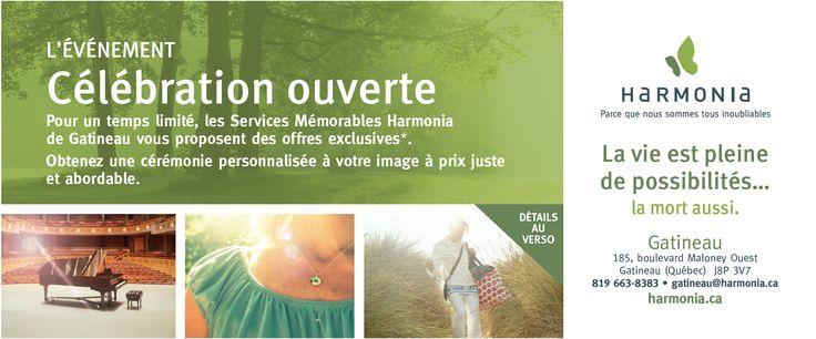 Publicité imprimée / Services mémorables Harmonia de Gatineau
