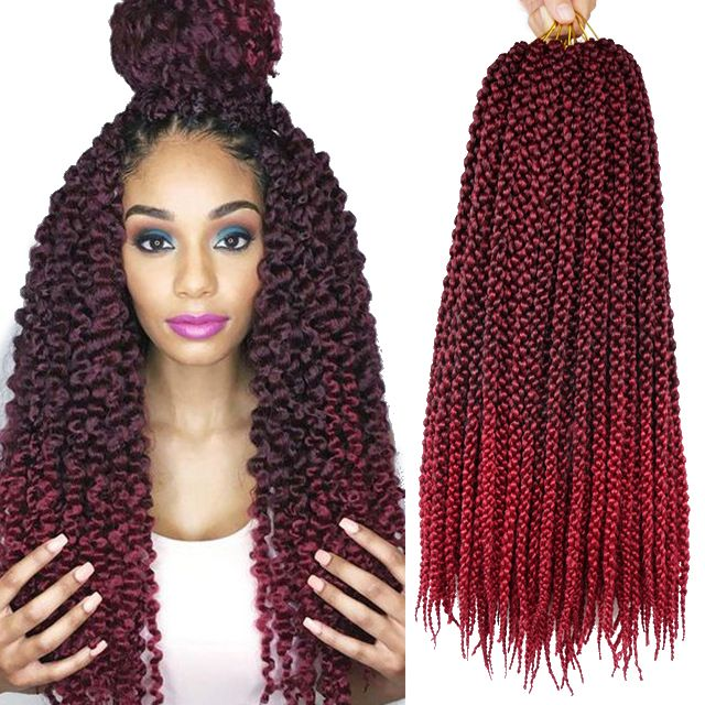 18inch 3D Cubic Twist Crochet Braids Hair Extensions 12Roots Ombre Crochet Hair Braiding 100g Black African Crotchet Hairstyles -- Details can be found by clicking on the image.