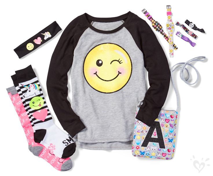 Our emoji accessories and separates will elevate her mood the minute she unwraps them!