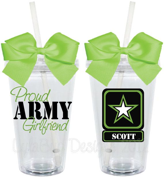 Proud Army Wife Girlfriend Mom 16oz Personalized by LylaBugDesigns, $15.00