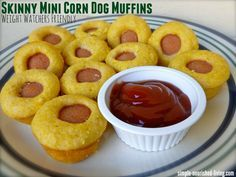 skinny mini corn dog muffins for Weight Watchers. 87 calories 2 Points Plus http://simple-nourished-living.com/2013/09/healthy-mini-corn-dog-muffins/