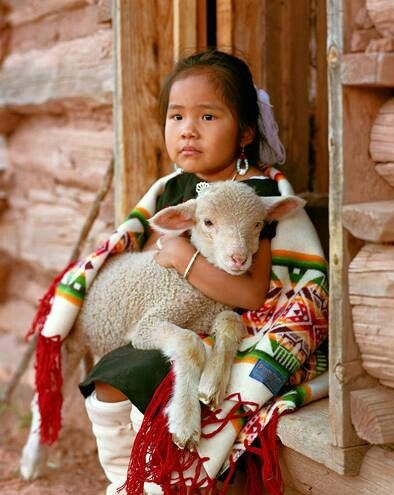 Navajo girl, so sweet with her lamb