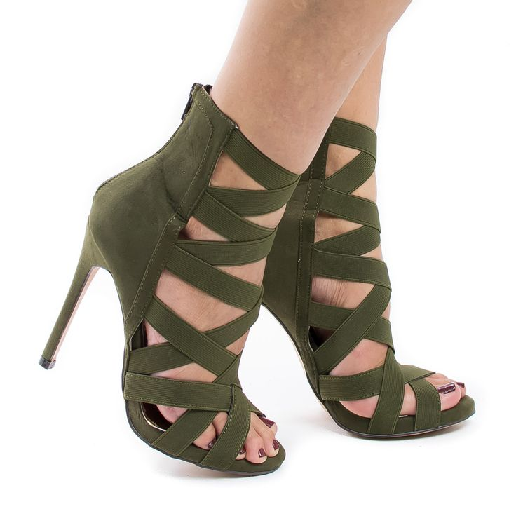 Make heads turn with these multi elastic strappy stiletto high heels, featuring a peep toe opening, contrast stitching, multi elastic straps, a back center zipper for easy wear and closure, a slightly
