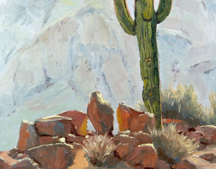 """Oil Painting, Cactus View, southwestern landscape, impressionistic. rocks, sonoran desert. This was created from a small study that I did while looking at these rocks and this large Saguaro Cactus. The morning light was fantastic on the rocks and the cactus. This is a good example of how intrigues I am by the many ways that light interacts with our world. I always paint a small study first to that I can understand how the light works. You can never get this from a photograph. 11"""" X 14""""…"""