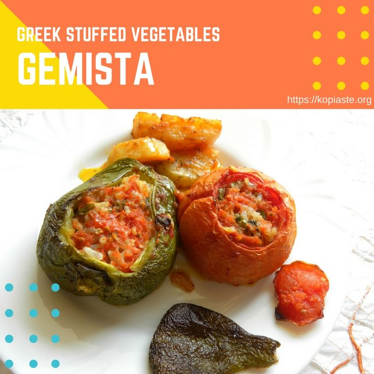 Gemista (pronounced as ye-mi-STA), are Greek stuffed tomatoes and peppers filled with rice and herbs, baked in a tomato sauce.  Between the gaps of the vegetables we add potatoes which absorb all the wonderful flavours of the vegetables. #gemista #stuffedtomatoes #stuffedpeppers #stuffedvegetables #veganfood #healthyrecipes #MediterraneanDiet #kopiaste