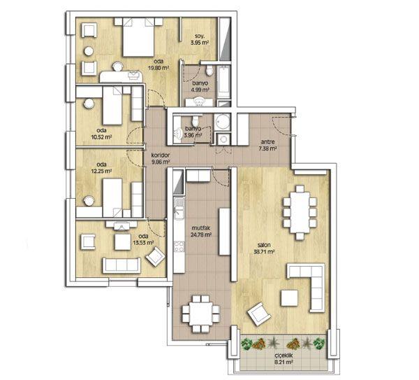Park Oran Evleri (Konutları) Kat Planları B Blok 4 oda 1 Salon