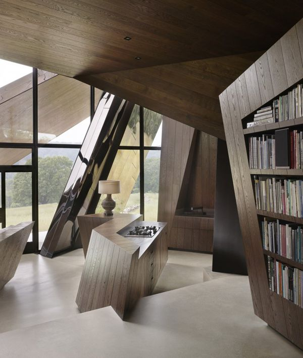 """Daniel Libeskind, """"18.36.54"""" stainless steel home interior, Connecticut, US."""