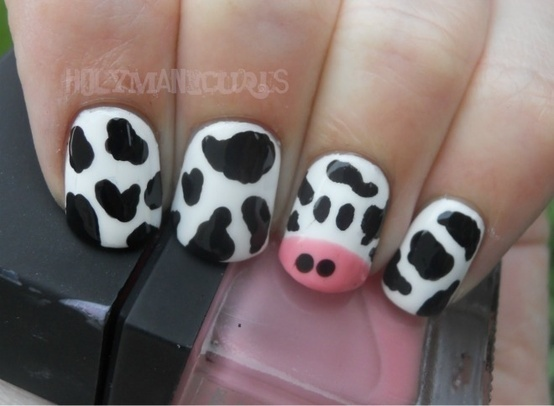 Cow nails !!! For Cow Appreciation Day at Chick-fil-A!