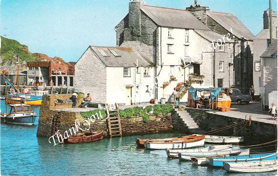 Vintage Postcard of Polperro in Cornwall, England, Fishing Village
