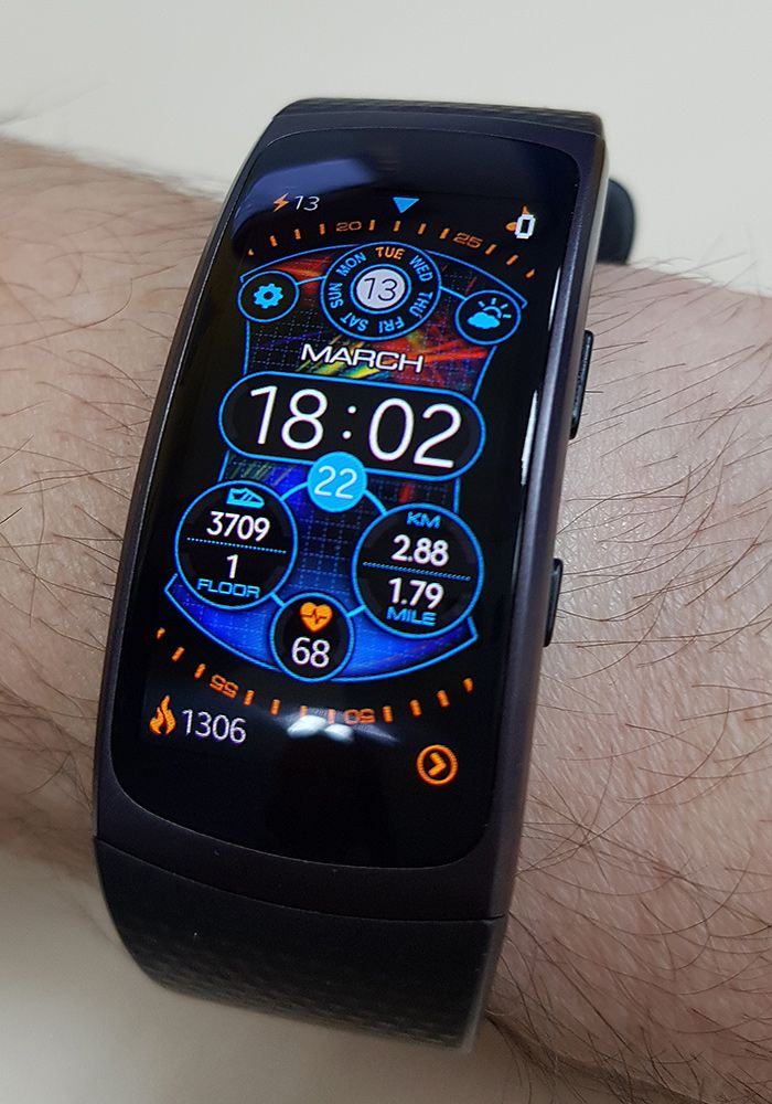 12 24 Plasmic Watch Face For Gear Fi2 Gear Fit2 Pro Battery Friendly Live Background Lots Of Info At A Funky Watches Samsung Gear Fit 2 Futuristic Watches