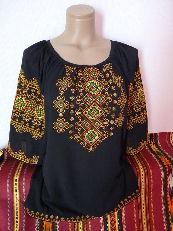 Traditional Ukrainian black blouse Embroidery blouse Chiffon blouse Vyshyvanka for women/'s Ukrainian Vyshyvanka Folk blouse Ethnic clothing