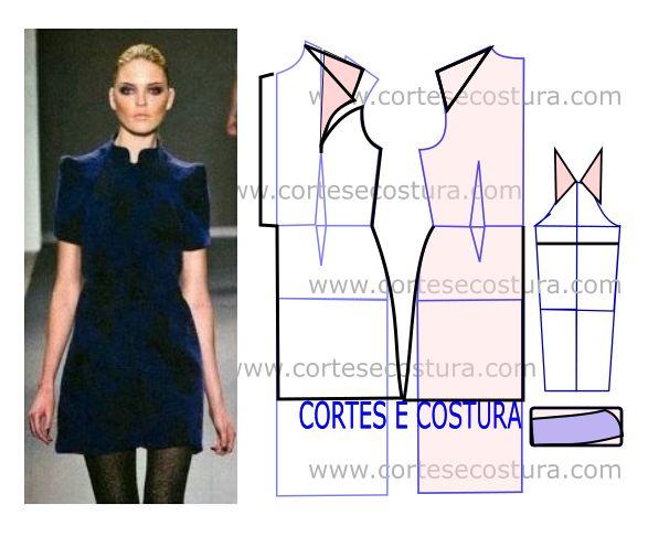 Como é fácil perceber esta transformação de vestido com medidas tem influência oriental. As medidas facilitam a modelagem deste modelo.