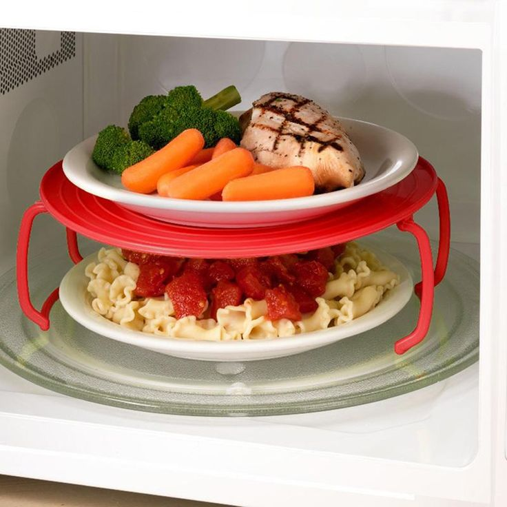 3 Colors Microwave Plastic Stand Multifunction Kitchen Plate Rack Plastic Stacker A Lid And A Cooling Rack Kitchen Tool PC892916
