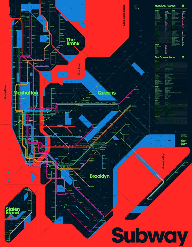 Triboro's take on the New York Subway, using only the most inappropriate colors.