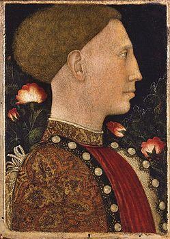 Pisanello 1441  Ritratto di Lionello d'Este.  Tempera su tavola. Accademia Carrara, Bergamo.