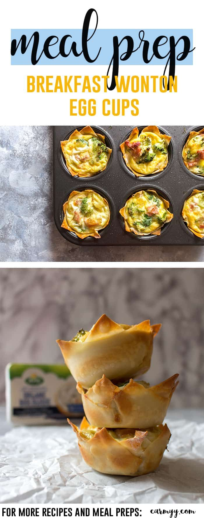 Need a breakfast meal prep idea? Why not try this delicious and fun breakfast wonton egg cups? via @runcarmyrun