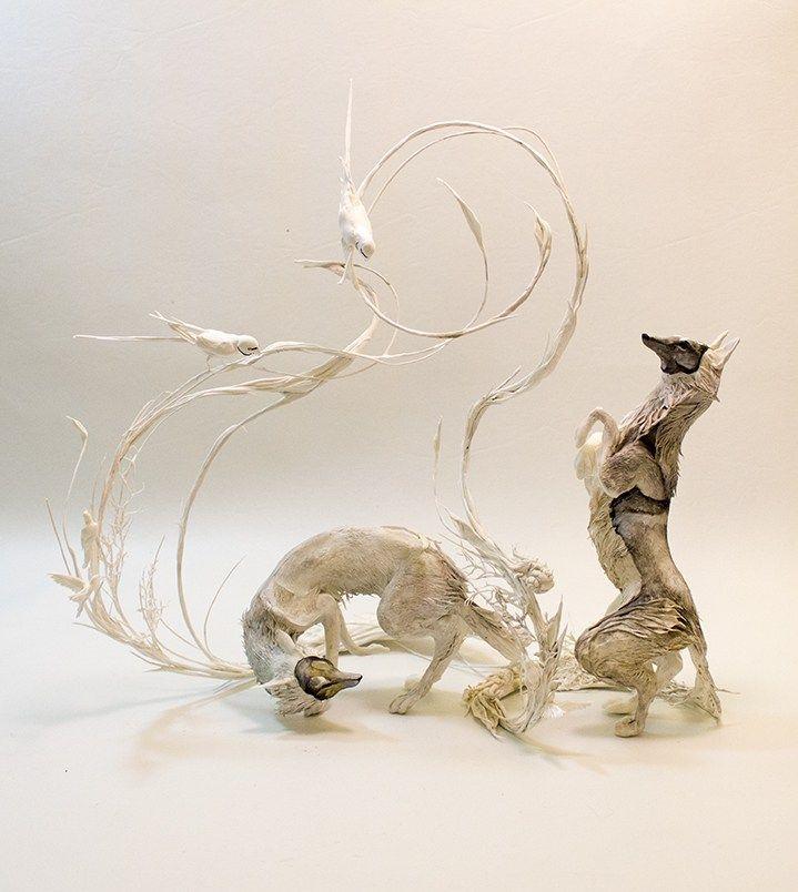 Foxes with Ringneck Parakeets http://www.ellenjewettsculpture.com/