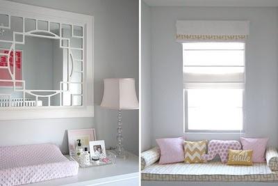 window seat: Grey Rooms, Cool Mirror, Grey Colors, Safari Nurseries, Safari Nursery, Window Seats, Girls Nurseries, Girls Rooms, Gray Nurseries