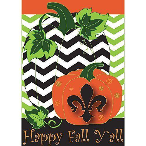 Happy Fall Yall Chevron Pumpkins 18 x 13 Rectangular Double Applique Small Garden Flag