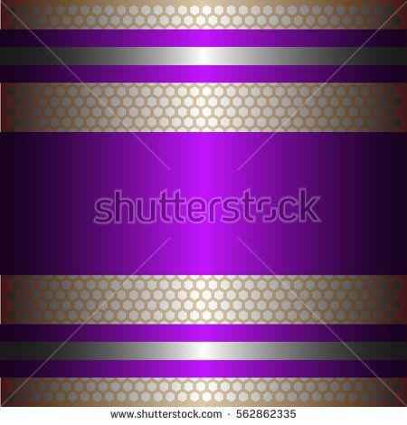 Shiny purple metal with silver background.Two glossy silver lines.Gold plate with hexagon holes style design .
