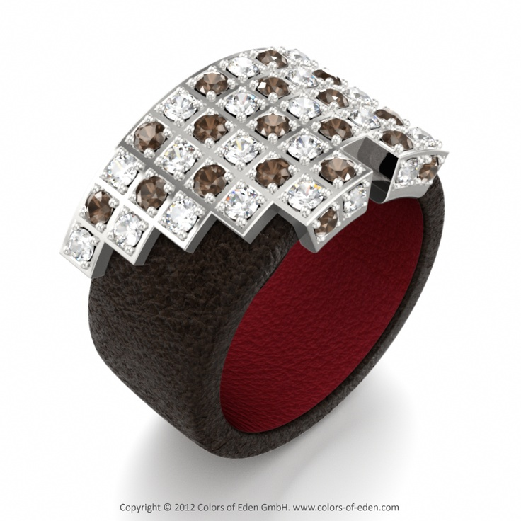 """Leather Ring """"Archimedes"""" with Smoky Quartz and Diamonds"""
