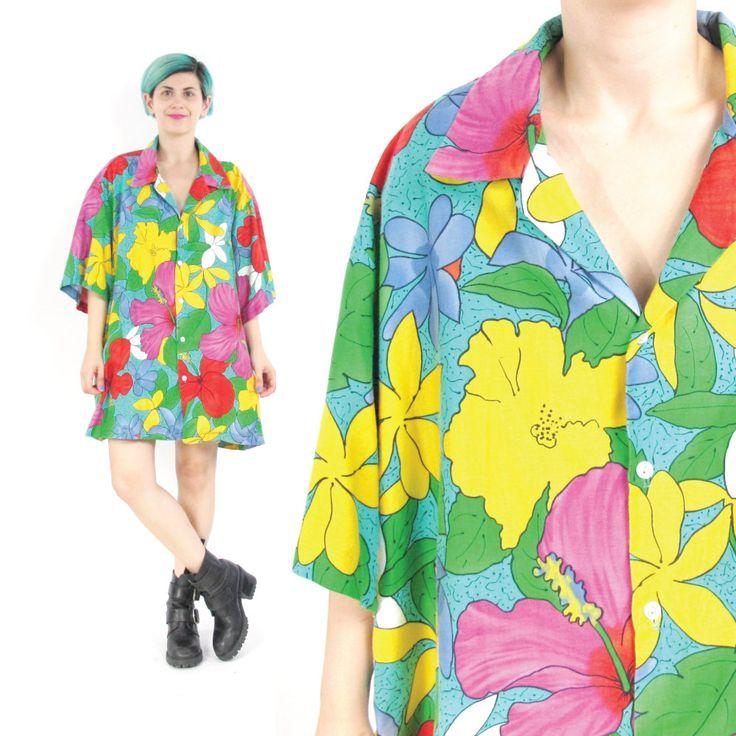 New to honeymoonmuse on Etsy: 80s Hawaiian Shirt Tropical Floral Print Shirt Slouchy Oversize Hilo Hattie Unisex Mens Hawaiian Shirt Short Sleeve Cotton Shirt (XXL) (45.00 CAD)
