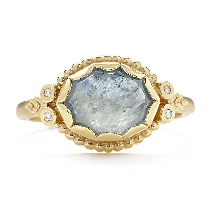Megan Thorne rose-cut sapphire and diamond engagement ring, available by special order at Greenwich Jewelers
