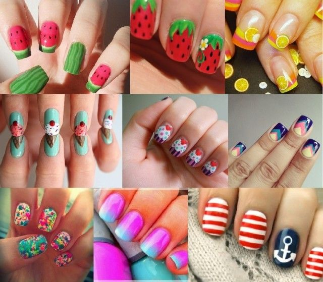 nageldesign ideen sommer 2014 knallige farben motive