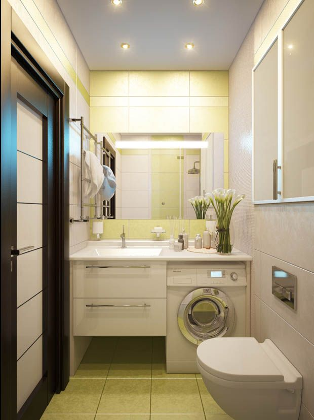 Small bathroom with washer dryer bathrooms that inspire for Small yellow bathroom ideas