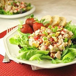 Strawberry Chicken Salad - National Strawberry Month is May - Strawberry - Strawberries - Strawberry Party - Feng Shui Your Events with a Feng Shui Design Consultation at www.DeniseDivineD.com/feng-shui-design - Subscribe for Your FREE Feng Shui for Love Report!