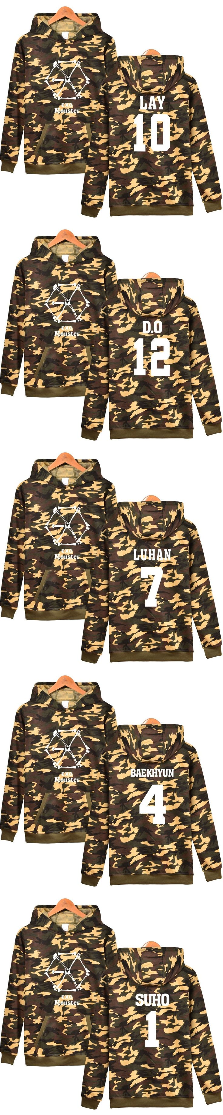 BATIGOL EXO KPOP MONSTER Men/Women Hoodies Sweatshirt With Cap Fashion KPOP Clothes EXO All Members Plus Size 4XL