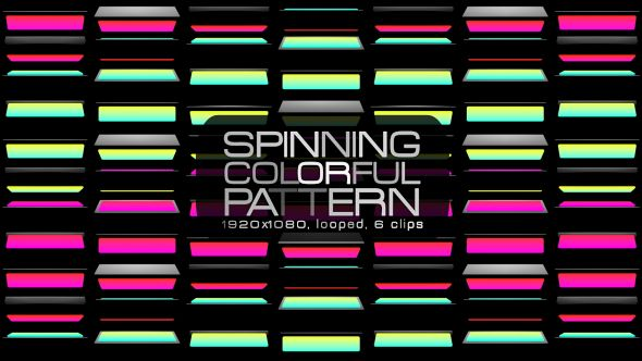 Spinning Colorful Pattern Video Animation | 8 clips | Full HD 1920×1080 | Looped | Photo JPEG | Can use for VJ, club, music perfomance, party, concert, presentation | #abtract #box #colorful #dynamic #edm #geometric #loops #music #pattern #pink #spinning #tosca #yellow